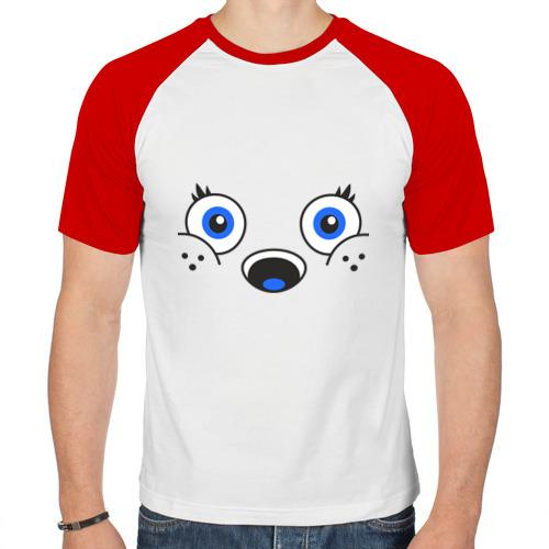 Мужская футболка реглан  Фото 01, Белый мишка
