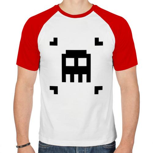 Мужская футболка реглан  Фото 01, череп 8 бит