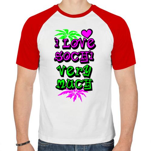 Мужская футболка реглан  Фото 01, I love SOCHI