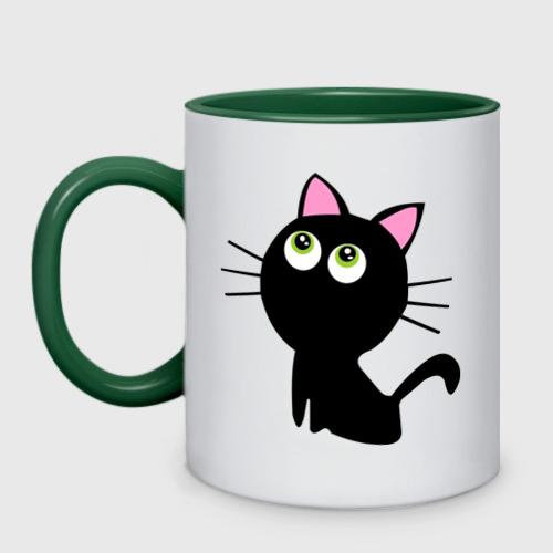Кружка двухцветная Маленький котенок Фото 01
