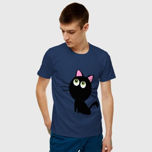 Мужская футболка хлопок Маленький котенок Фото 01