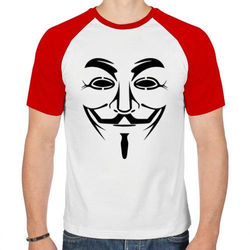 Мужская футболка реглан  Фото 01, Маска Гая Фокса (Маска Анонимуса)