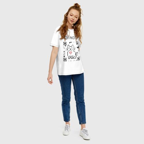Женская футболка хлопок Oversize QR-code-kote Фото 01