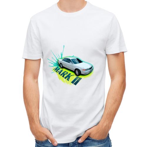 """Мужская футболка синтетическая """"toyota mark2"""" белая - 1"""