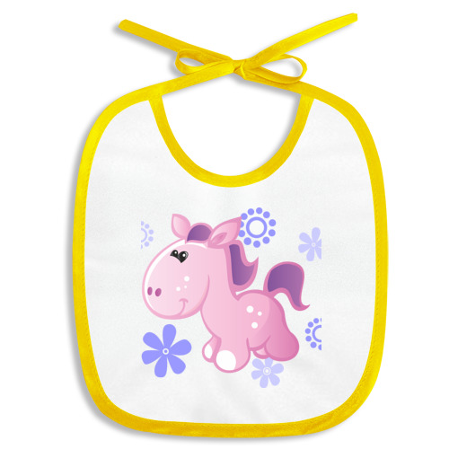 Слюнявчик розовая лошадка