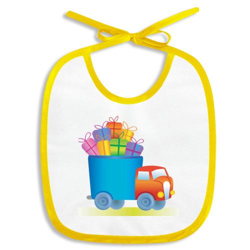 Слюнявчик грузовик с подарками