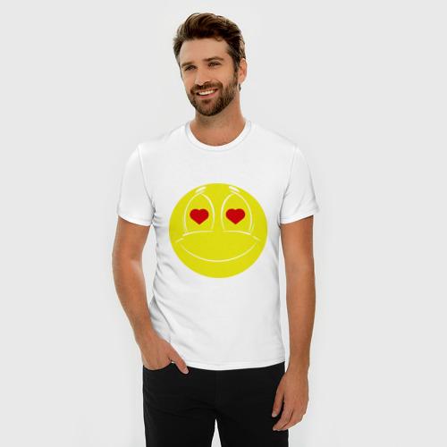 Мужская футболка премиум  Фото 03, Влюбленный смайлик