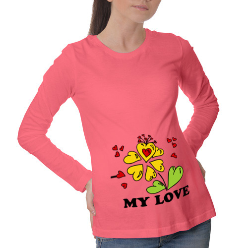 Лонгслив для беременных хлопок My love- цветок