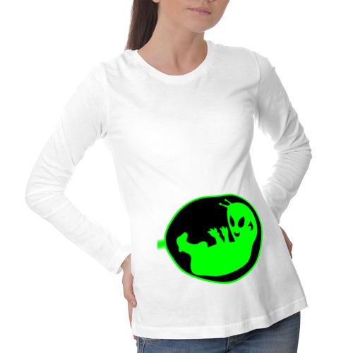 Лонгслив для беременных хлопок В животе  зеленый человечек