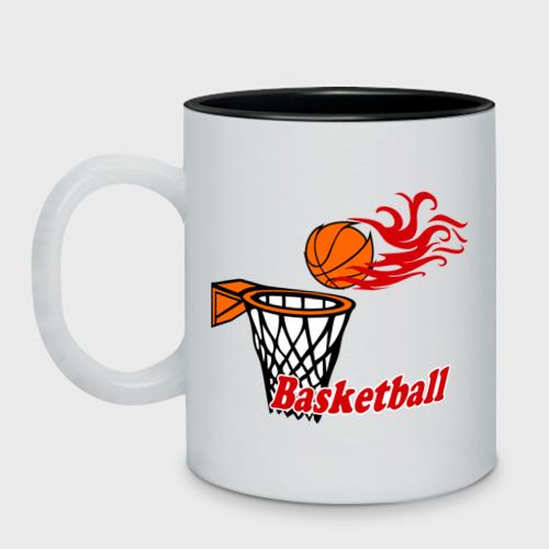 Кружка двухцветная  Фото 01, Баскетбол (огненный мяч)