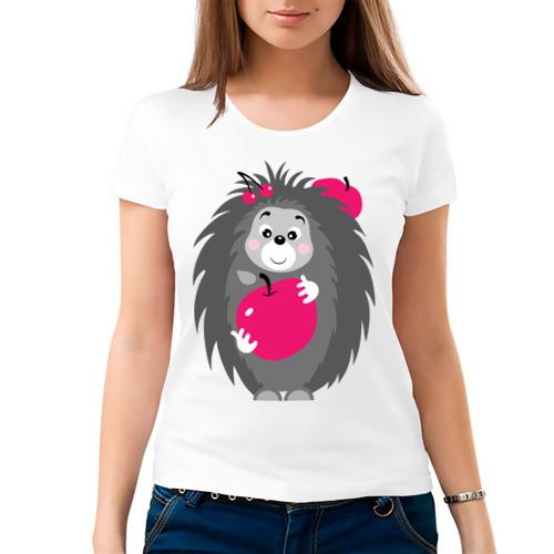 Женская футболка Ёжик держит яблоко от Всемайки
