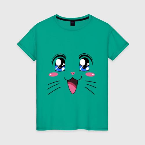 Женская футболка хлопок Японская кошечка Фото 01