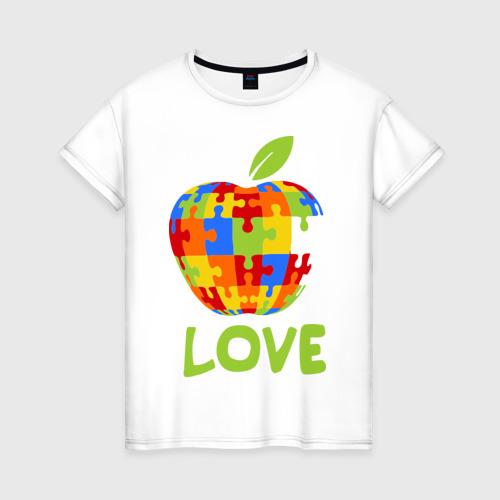 Женская футболка хлопок Apple пазл