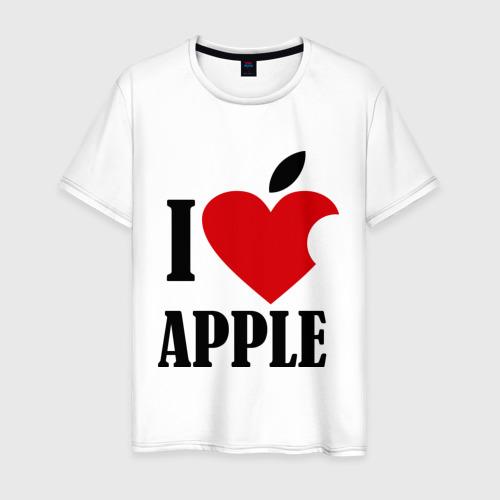 Мужская футболка хлопок i love apple с листиком