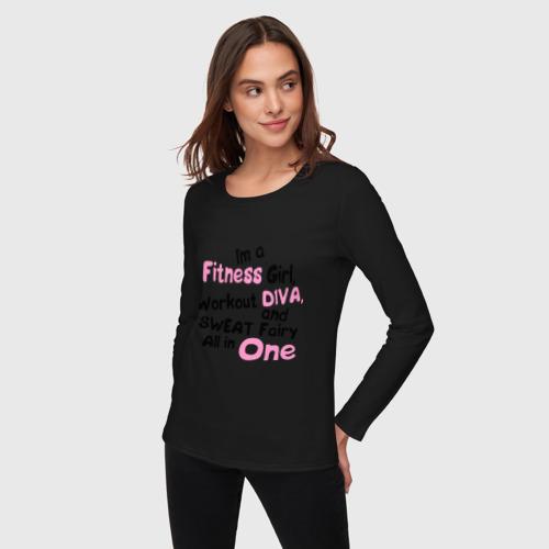 Женский лонгслив хлопок  Фото 03, Im a fitness girl