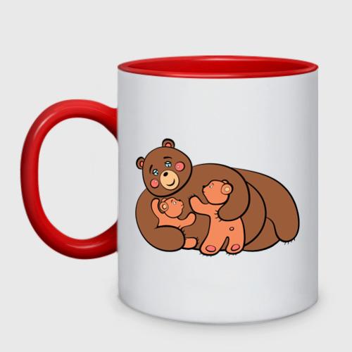 Кружка двухцветная Мама медведица двойняшки