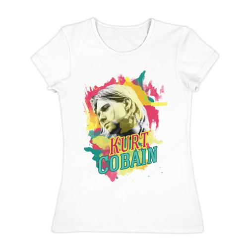 Женская футболка хлопок Курт Кабейн акварель