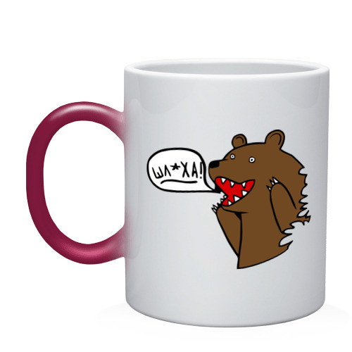 """Кружка хамелеон  Фото 01, Медведь: \""""Шлюха!\"""""""