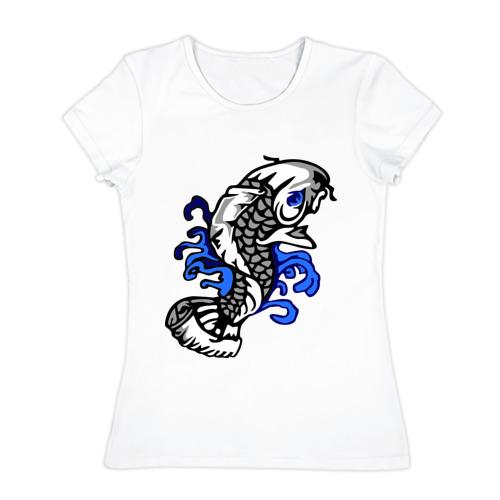 Женская футболка хлопок  Фото 01, Рыба - карп