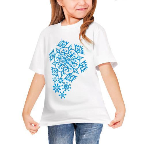 Детская футболка синтетическая Узор из снежинок от Всемайки