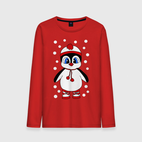 """Мужская футболка с длинным рукавом """"Пингвин в снегу"""" - 1"""