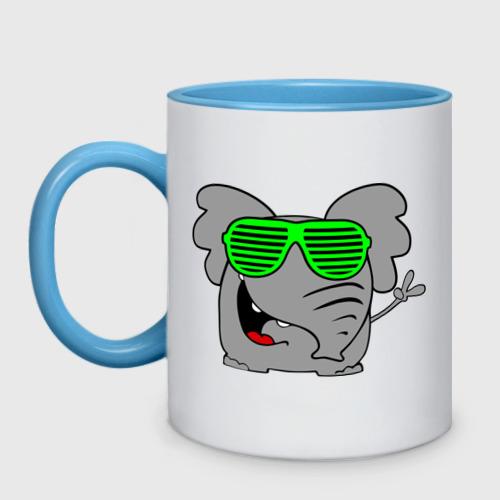 Кружка двухцветная  Фото 01, Слон в очках