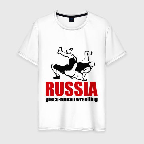 Мужская футболка хлопок Russia greco-roman  wrestling