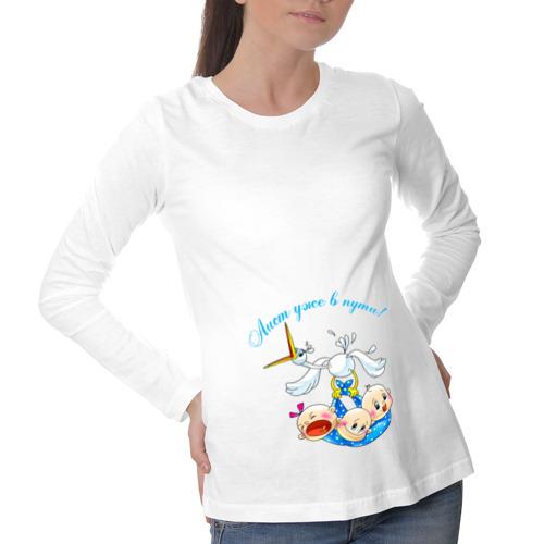 Лонгслив для беременных хлопок Аист уже в пути - тройня