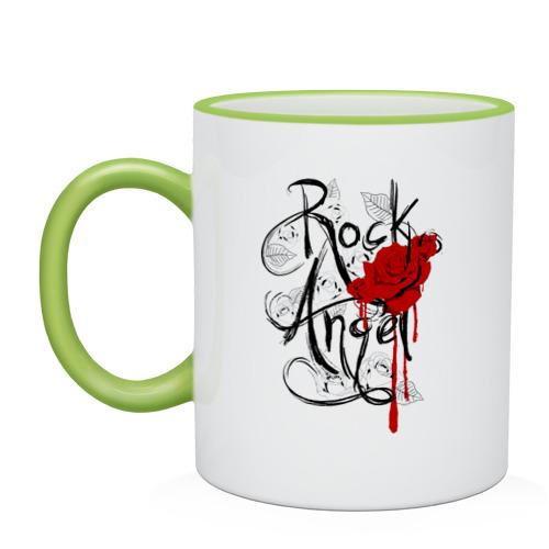 "Кружка с кантом ""Rock angel red rose"" - 1"