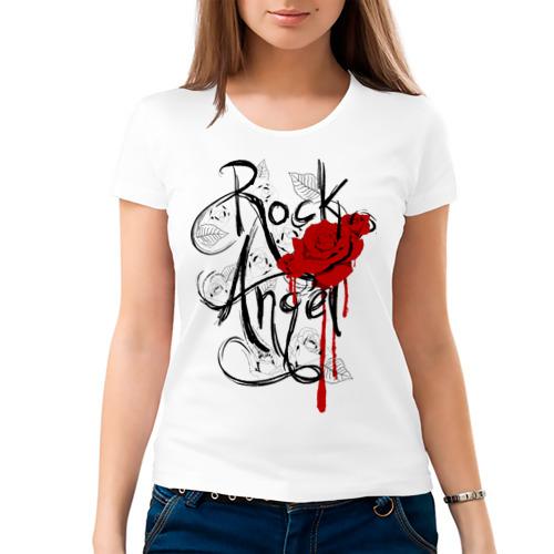 "Женская футболка ""Rock angel red rose"" - 1"