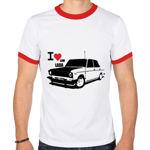 "Мужская футболка-рингер ""I Love low lada"" - 1"