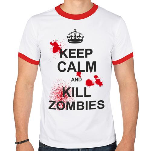 Мужская футболка рингер  Фото 01, Keep calm and kill zombies