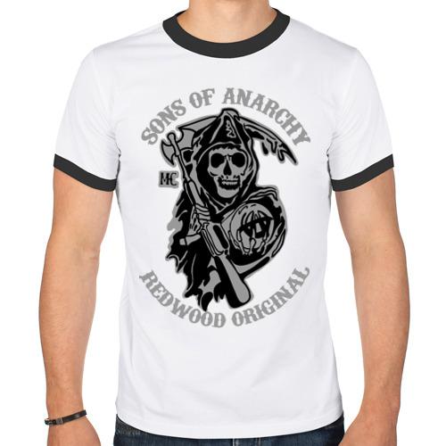 "Мужская футболка-рингер ""Sons of anarchy logo"" - 1"