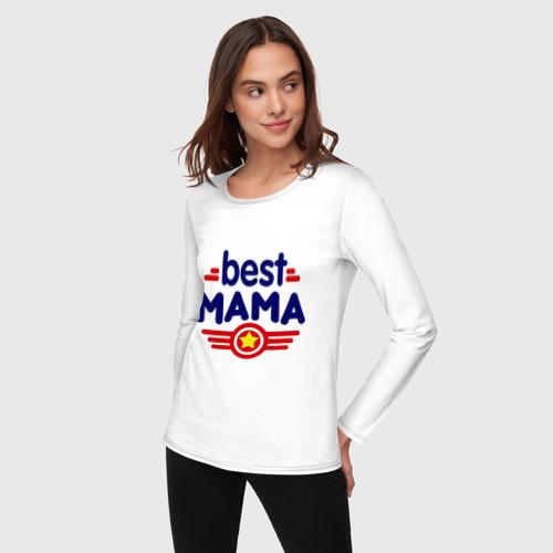 Женский лонгслив хлопок  Фото 03, Best mama logo