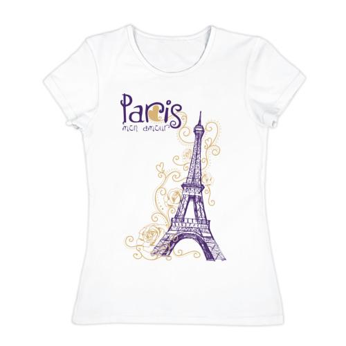Женская футболка хлопок Paris mon amour