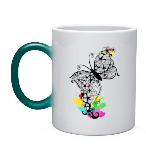 Кружка хамелеон  Фото 01, Flower butterfly