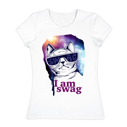 Женская футболка хлопок Space cat swag
