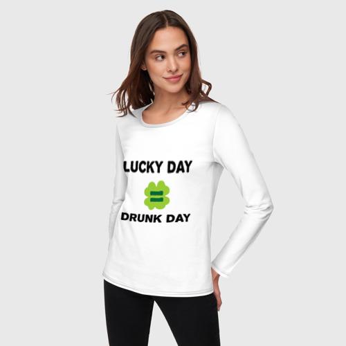 Женский лонгслив хлопок  Фото 03, Lucky day = drunk day