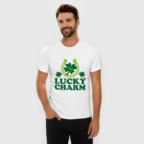 Мужская футболка премиум  Фото 03, Lucky charm - подкова