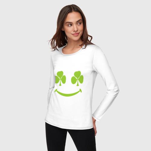 Женский лонгслив хлопок  Фото 03, Smile green