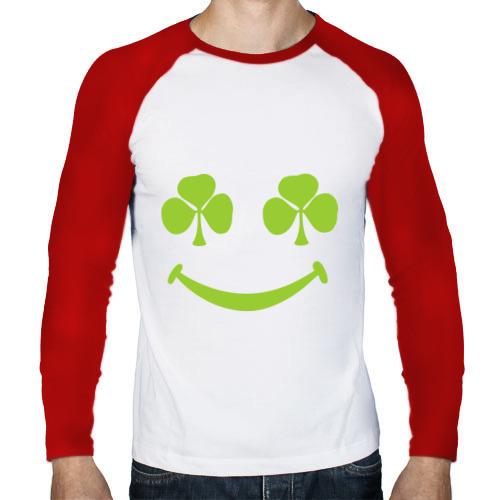 Мужской лонгслив реглан  Фото 01, Smile green