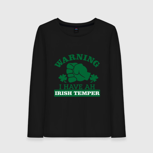 Женский лонгслив хлопок  Фото 01, Warning! Irish temper