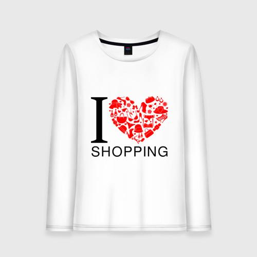Женский лонгслив хлопок  Фото 01, i love shpping я люблю шоппинг