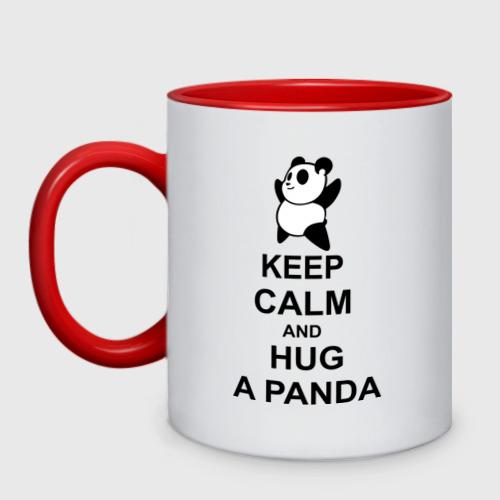 Кружка двухцветная keep calm and hug a panda