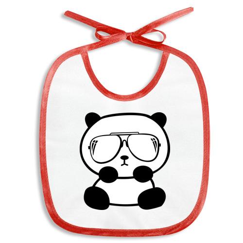Слюнявчик  Фото 01, панда в очках авиатор