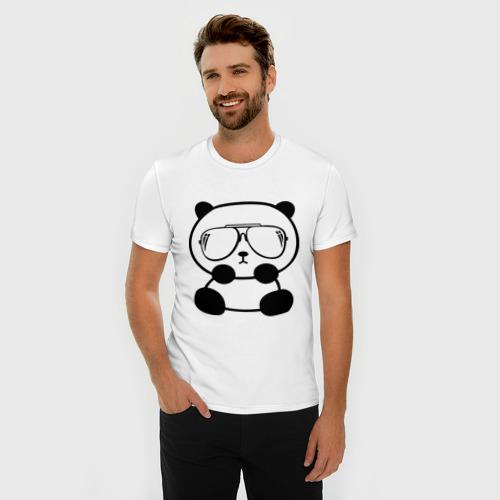 Мужская футболка премиум  Фото 03, панда в очках авиатор