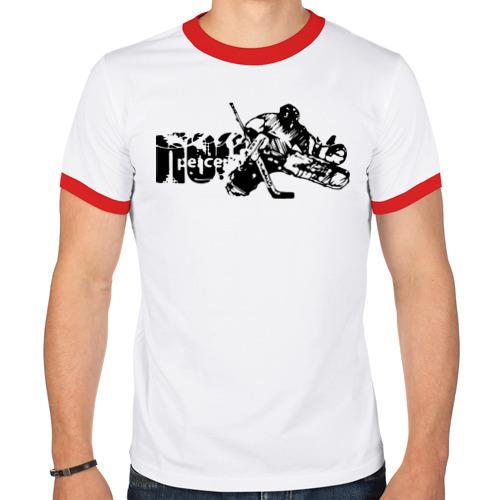 "Мужская футболка-рингер ""Нockey goalie"" - 1"