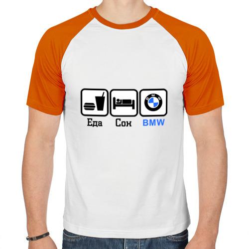 Мужская футболка реглан  Фото 01, Главное в жизни - еда, сон,bmw.