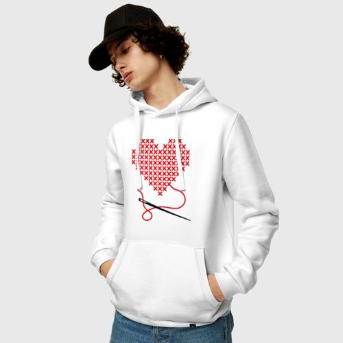 Мужская толстовка хлопок  Фото 03, Сердце вышивка с иголкой