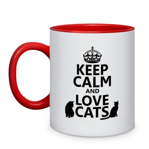 Кружка двухцветная Keep calm and love cats. от Всемайки